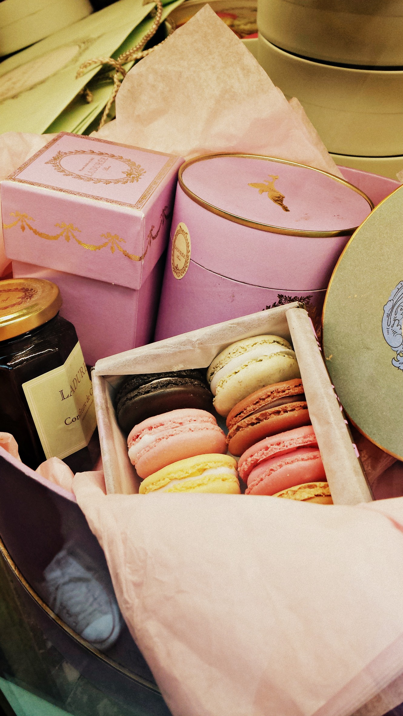 Window display in Laduree, home of the French macaron